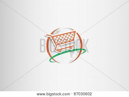 paper  shopping cart planet orange