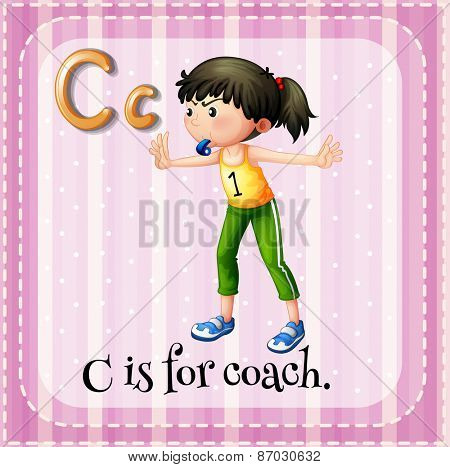 Flashcard letter C is for coach