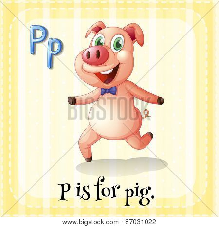 Flashcard letter p is for pig