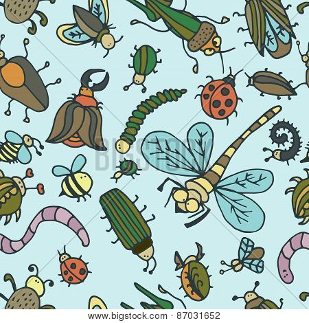 Cute Cartoon Insect Pattern. Summer Concept Texture.
