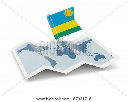 Map With Flag Of Rwanda