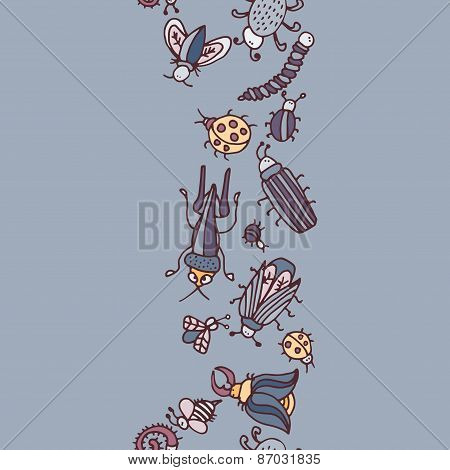 Cute Cartoon Insect Border Pattern. Summer Concept Background.