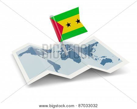 Map With Flag Of Sao Tome And Principe
