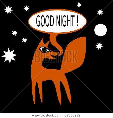 Orange fox on black background