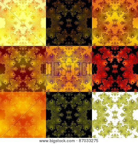Abstract fractal black orange yellow white tiles composed background