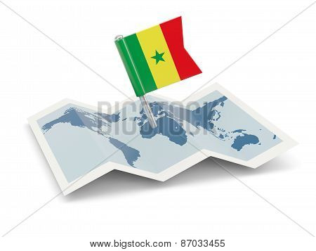 Map With Flag Of Senegal