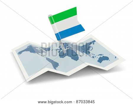 Map With Flag Of Sierra Leone