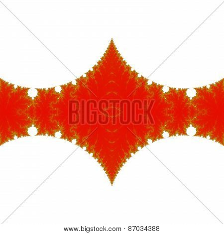 Decorative red gold fractal ribbon on clear white area