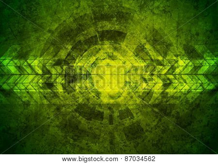 Green grunge tech geometric background. Vector design