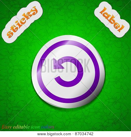 Upgrade, Arrow, Update Icon Sign. Symbol Chic Colored Sticky Label On Green Background. Vector