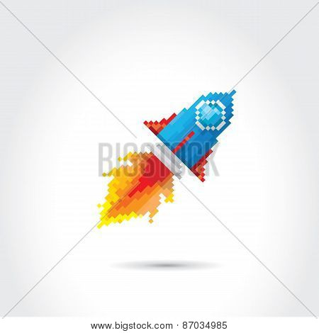 vector flat pixel rocket on white background.