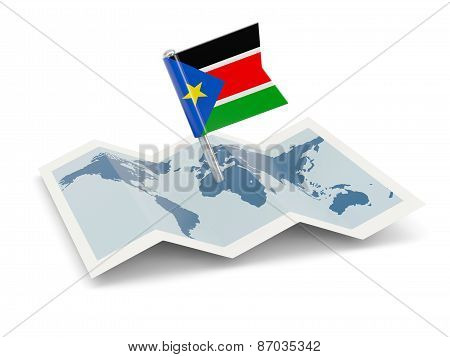 Map With Flag Of South Sudan