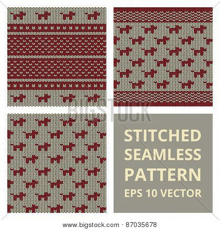 Fabric Stitched Background Pattern With Silhouette Of Dog