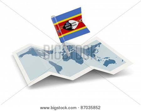 Map With Flag Of Swaziland