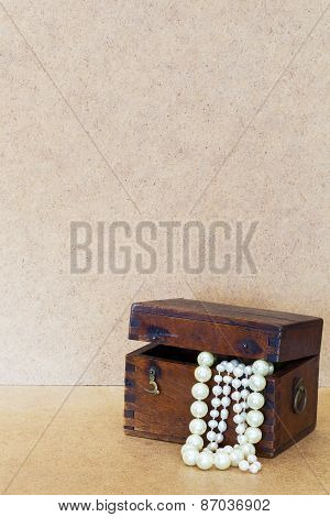 Vintage Wooden Chest With Jewels, Beads White Pearl Dangle