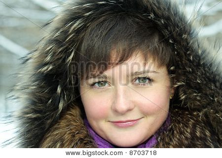 Cute Woman In Frosty Day