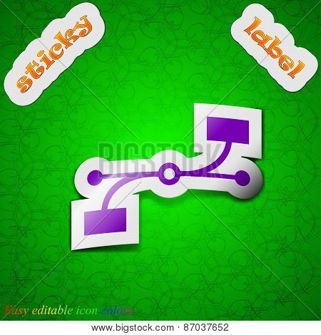 Bezier Curve Icon Sign. Symbol Chic Colored Sticky Label On Green Background. Vector