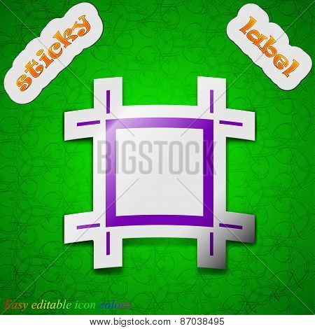 Crops And Registration Marks Icon Sign. Symbol Chic Colored Sticky Label On Green Background. Vector