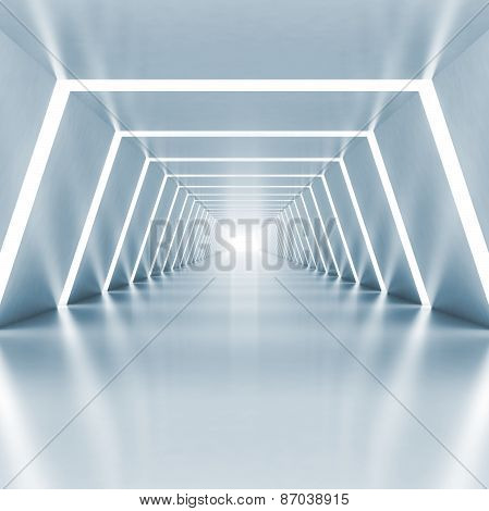 Abstract Empty Light Blue Shining Corridor Interior