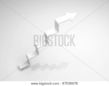 White Arrow In Shape Of Stairway Going Up, 3D