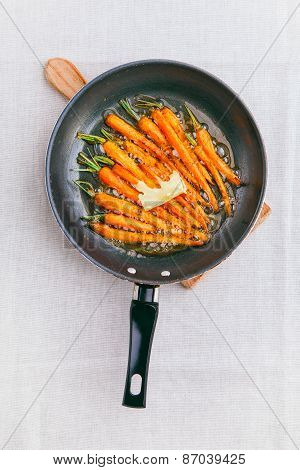 Roasted (fried) Baby Carrots On A Baking Pan