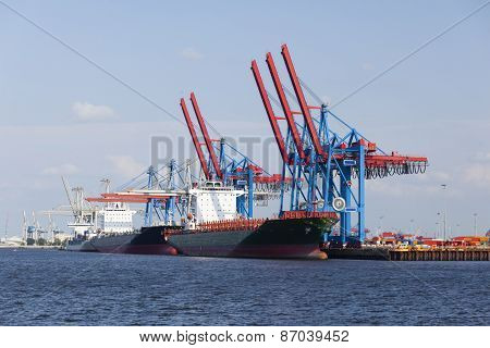 Container Ships In Hamburg, Germany