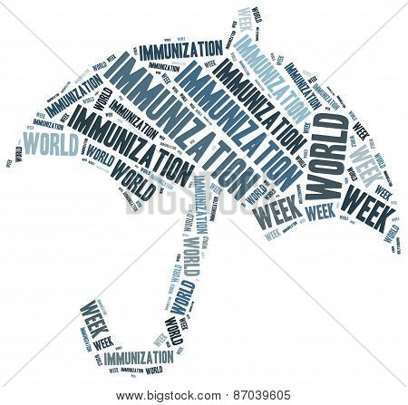 World Immunization Week. Word Cloud Illustration.