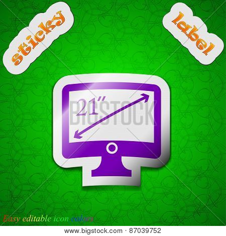 Diagonal Of The Monitor 21 Inches Icon Sign. Symbol Chic Colored Sticky Label On Green Background. V