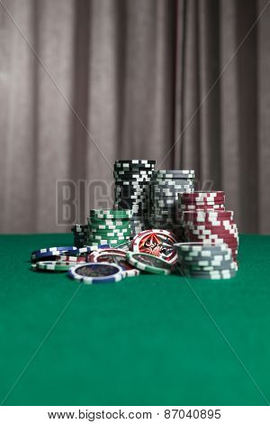 Royal Flush On The Green Casino Background