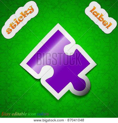 Puzzle Piece Icon Sign. Symbol Chic Colored Sticky Label On Green Background. Vector