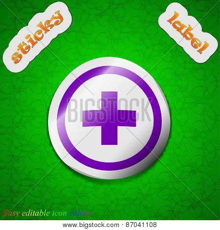Plus, Positive, Zoom Icon Sign. Symbol Chic Colored Sticky Label On Green Background. Vector