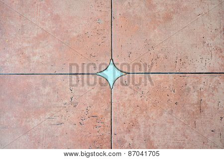 Decorated background tiles terracotta color