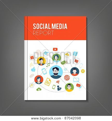 Brochure or flyer template with social media topics. Illustrates connection between people, communication or work organization.