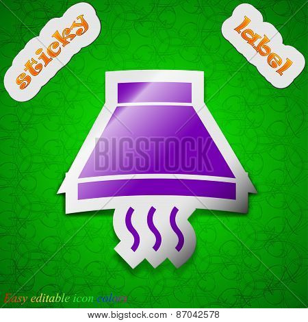 Kitchen Hood Icon Sign. Symbol Chic Colored Sticky Label On Green Background. Vector