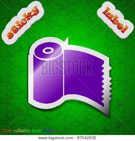 Toilet Paper, Wc Roll Icon Sign. Symbol Chic Colored Sticky Label On Green Background. Vector