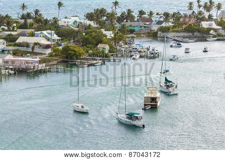 Aerial view of Hopetown in the Abacos Islands, Bahamas