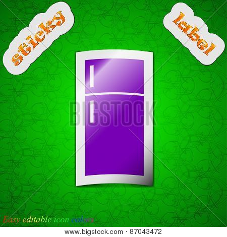 Refrigerator Icon Sign. Symbol Chic Colored Sticky Label On Green Background. Vector