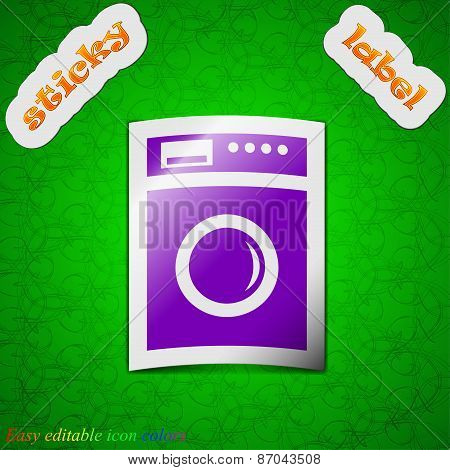 Washing Machine Icon Sign. Symbol Chic Colored Sticky Label On Green Background. Vector