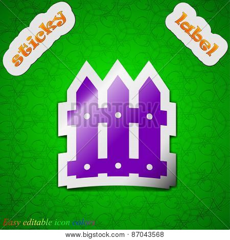 Fence Icon Sign. Symbol Chic Colored Sticky Label On Green Background. Vector