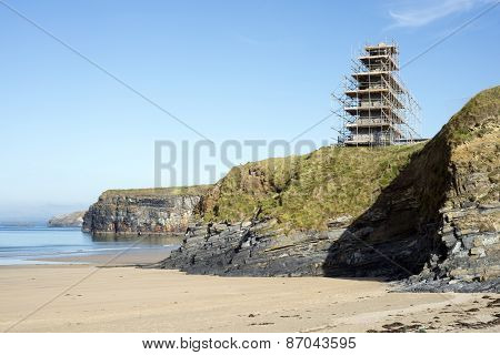 Ballybunion Castle Scafolded On The Cliffs