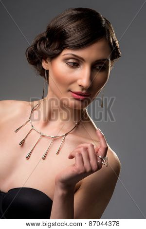 Beautiful Young Woman With Necklace