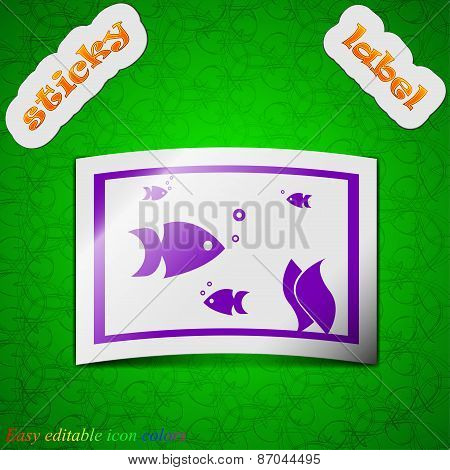 Aquarium, Fish In Water Icon Sign. Symbol Chic Colored Sticky Label On Green Background. Vector