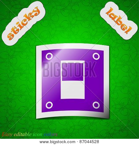Power Switch Icon Sign. Symbol Chic Colored Sticky Label On Green Background. Vector