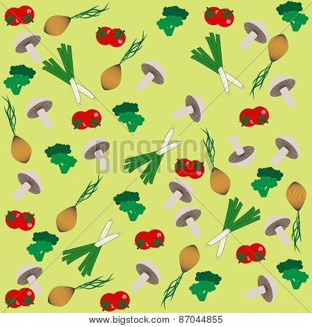 Background Of Mushrooms And Vegetables