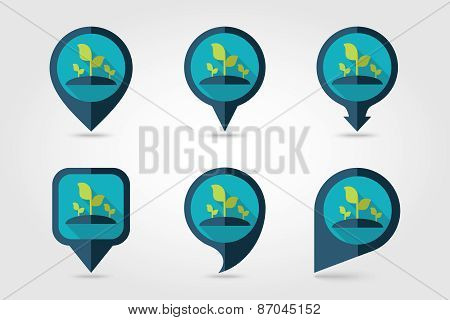 Plant Sprout Flat Mapping Pin Icon With Long Shadow
