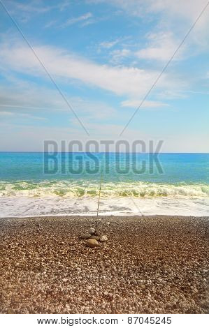 Beach Fishing On Mediterranean Sea