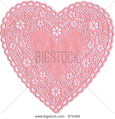 Antique pink lace heart