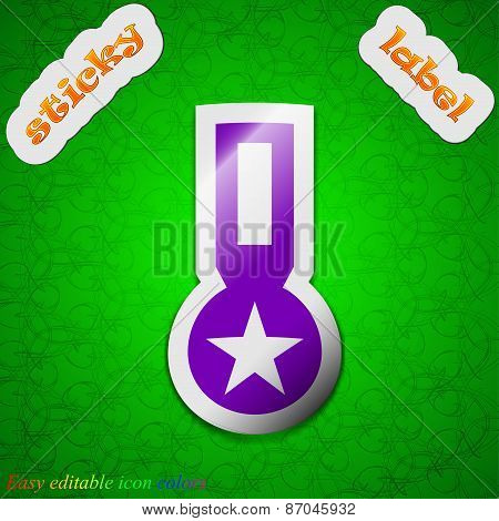 Award, Medal Of Honor Icon Sign. Symbol Chic Colored Sticky Label On Green Background. Vector