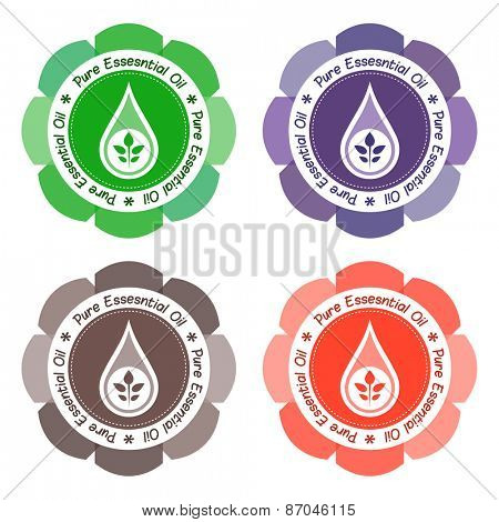 Pure essential oil product labels.
