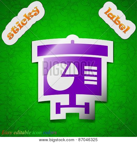 Graph Icon Sign. Symbol Chic Colored Sticky Label On Green Background. Vector